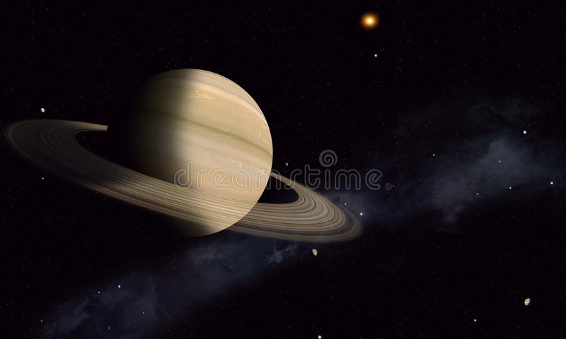Saturn with Moons. Solar system gas giant saturn with rings and moons stock illustration