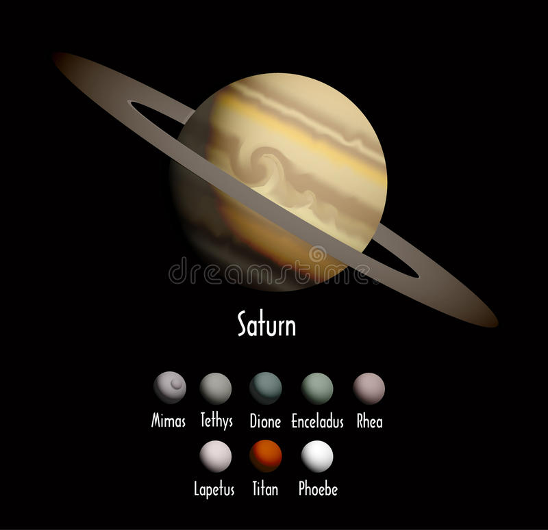 Saturn and she moons. Vector illustration background stock illustration
