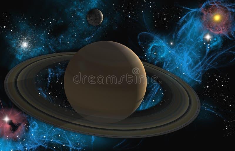 Saturn with nebula