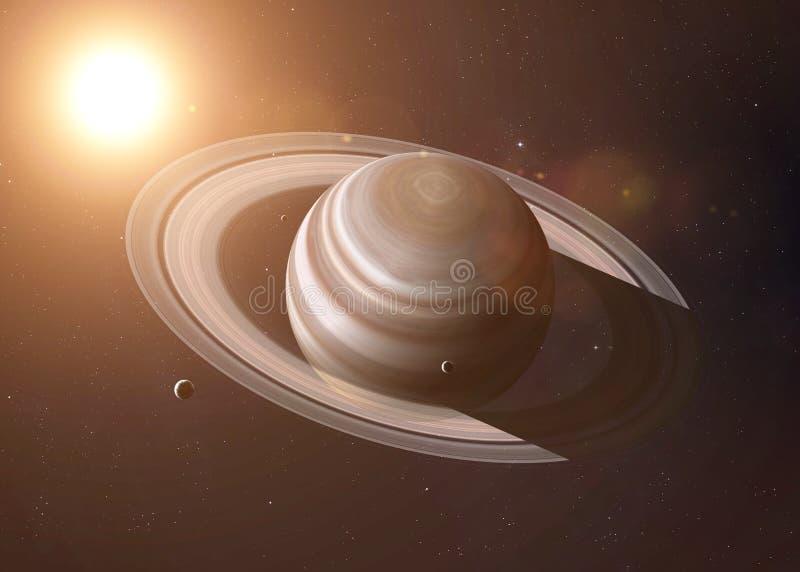 Saturn pierścionki błyszczą z światłem słonecznym elementy ilustracja wektor