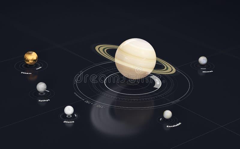 Saturn - planeet en maan Dit beeldelementen die door NASA, 3d Illustratie worden geleverd stock illustratie