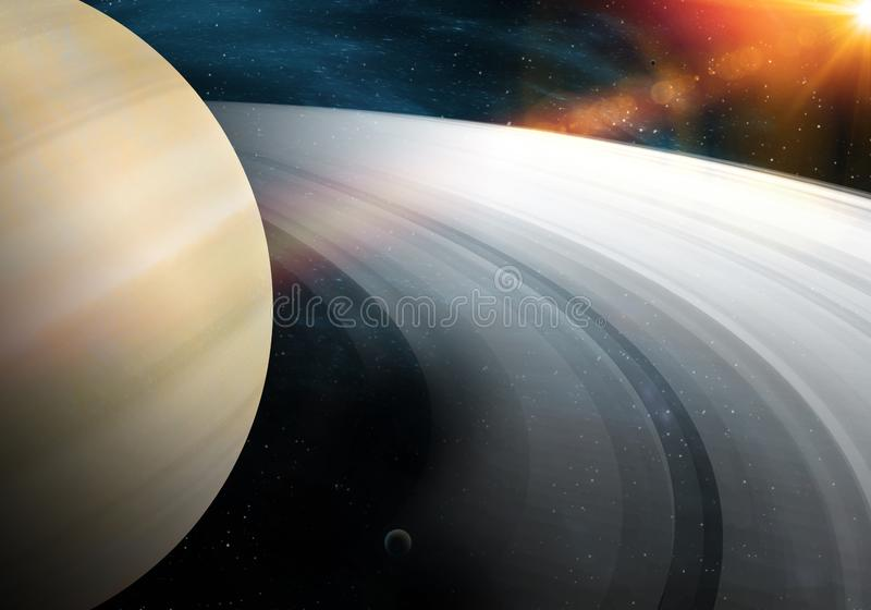 Saturn-planeet in kosmische ruimte die de schoonheid van de ruimtereeks van het exploratieconcept toont royalty-vrije stock afbeeldingen
