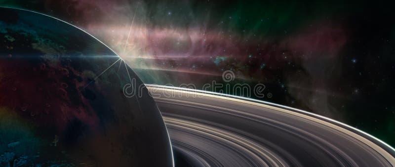 Saturn-planeet met ringen in kosmische ruimte stock foto's