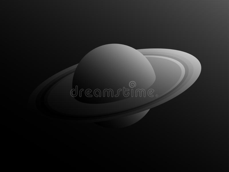 Saturn-planeet in retro stijl met schaduwen van grijs Zwart-wit ruimtelandschap Vector stock illustratie