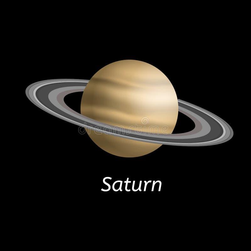 Saturn-planeetpictogram, realistische stijl stock illustratie