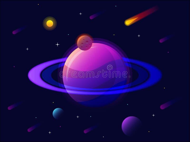 Saturn-planeetzonnestelsel met sterren Futuristische Ruimteachtergrond Abstract heelal met grote ultraviolette planeetvector stock illustratie