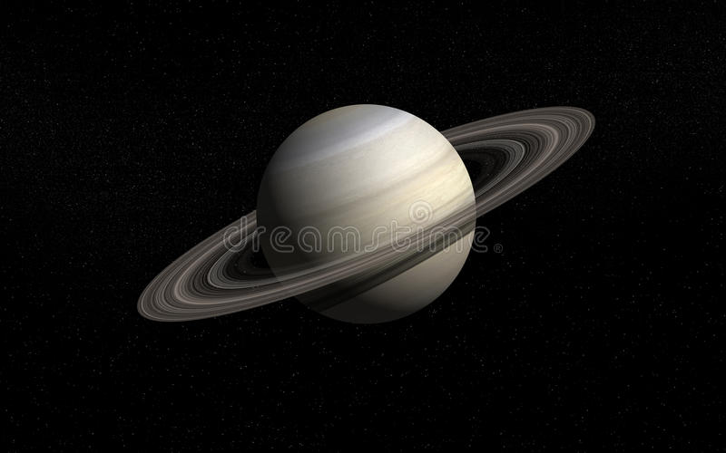 Saturn. Planet Saturn in deep space stock illustration
