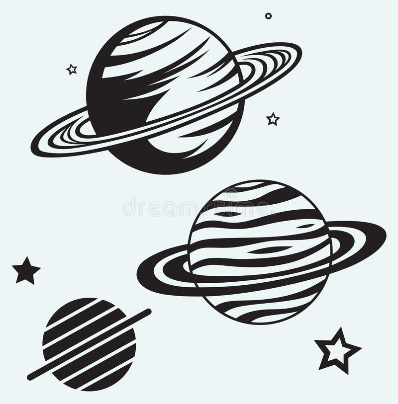 Saturn Planet. Isolated on blue background vector illustration