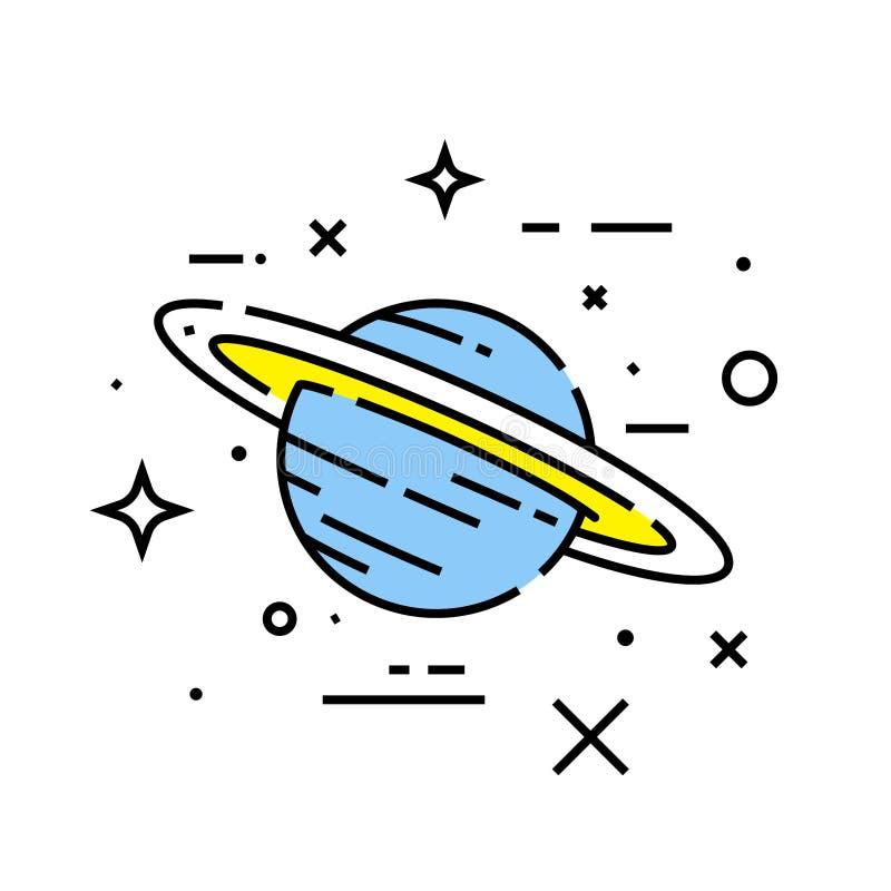 Saturn planet line icon vector illustration
