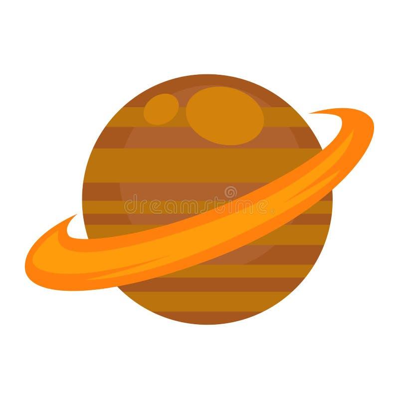 Saturn-Planet lokalisiert auf weißem grafischem Vektorplakat stock abbildung