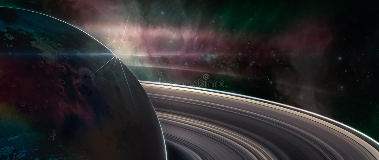 Saturn planet with rings in outer space stock photos
