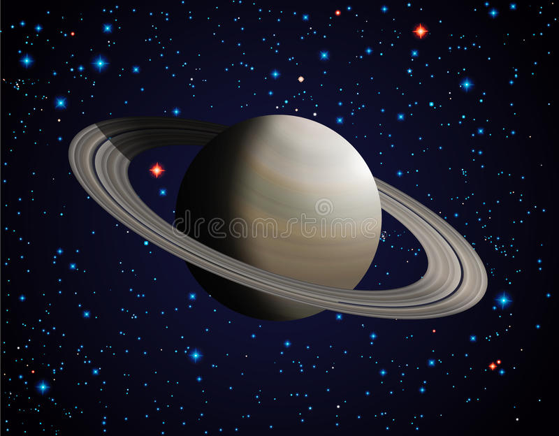 Saturn. Planet Saturn on the sky with stars stock illustration