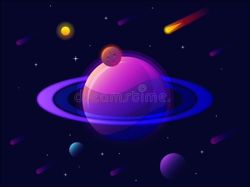 Saturn planet solar system with stars. futuristic space background. Abstract universe with big ultraviolet planet vector stock illustration