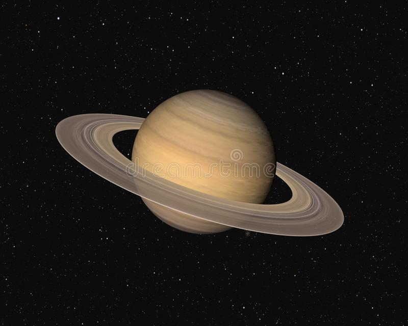 Saturn. Planet Saturn on a star background. Very detailed 3d computer generated