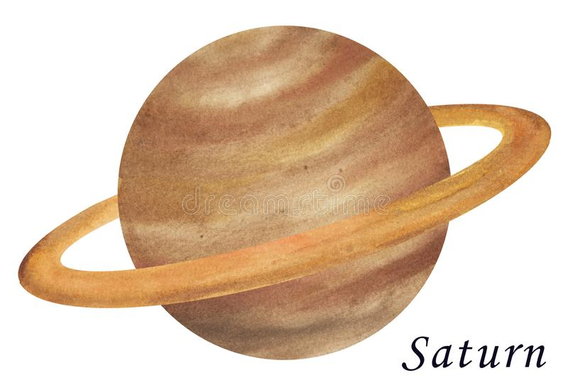 Saturn Planet watercolour illustration. Hand drawn on white back. Ground, isolated stock illustration