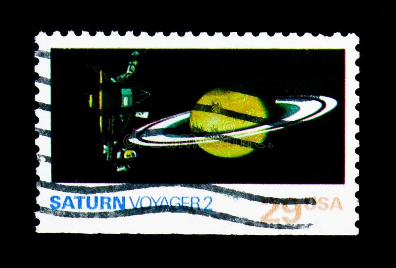 Saturn, Reiziger 2, Ruimteexploratiekwestie serie, circa 1991 royalty-vrije stock fotografie