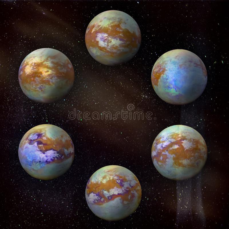 Saturn`s moon Titan, set of six at the galaxy stars background stock image