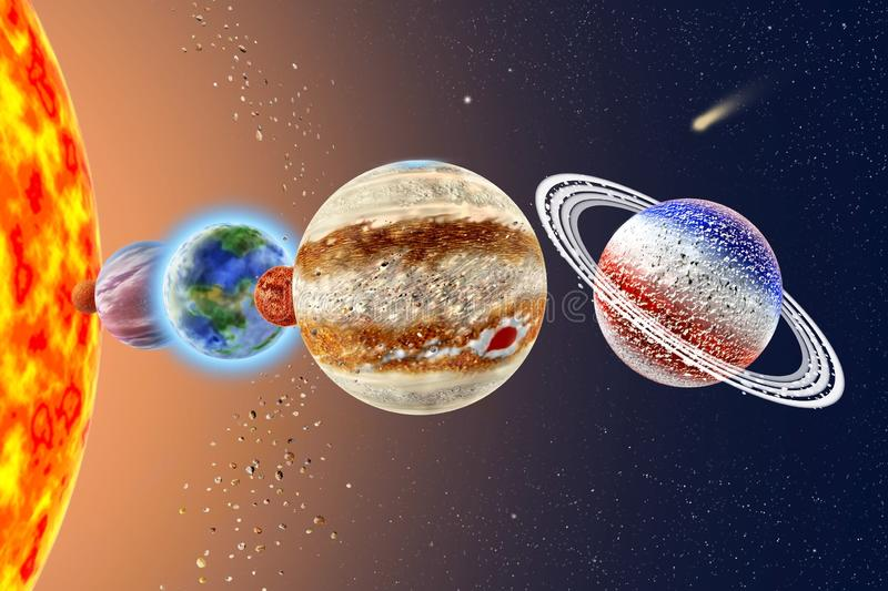 Saturn - a sixth solar system planet. On background Sun and starry sky royalty free stock photography