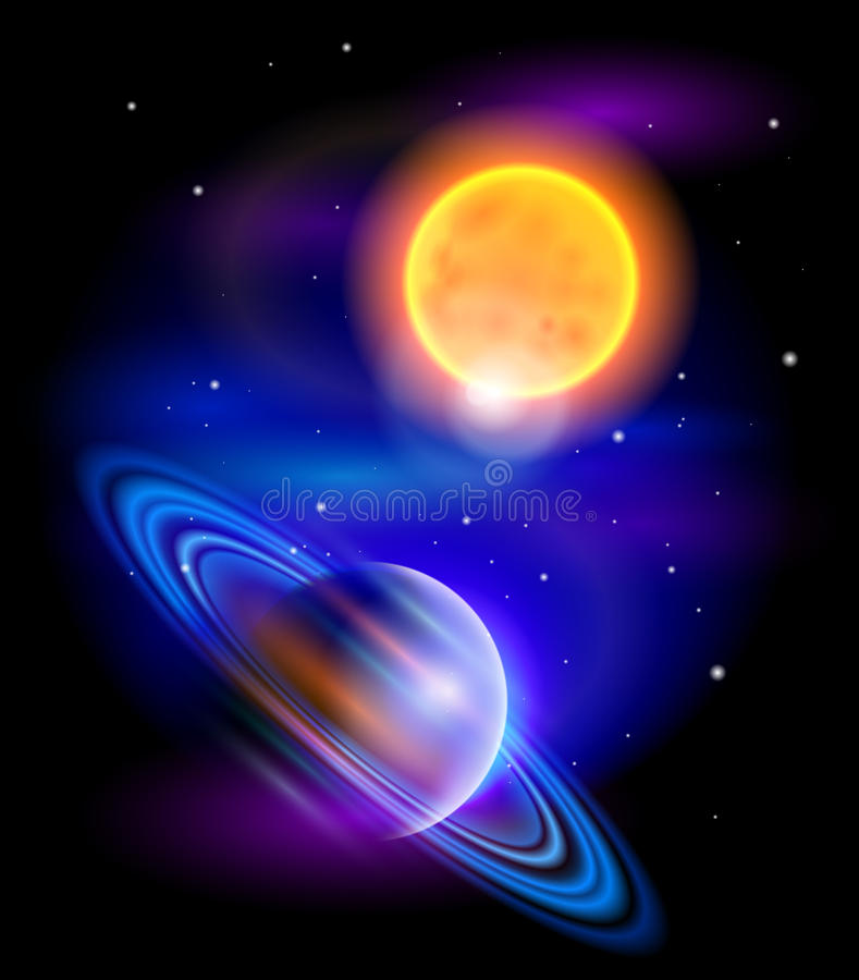 saturn sun royaltyfri illustrationer
