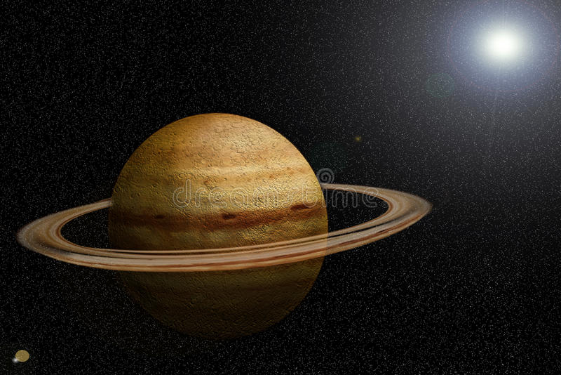 SATURN. With the sun at the bottom vector illustration