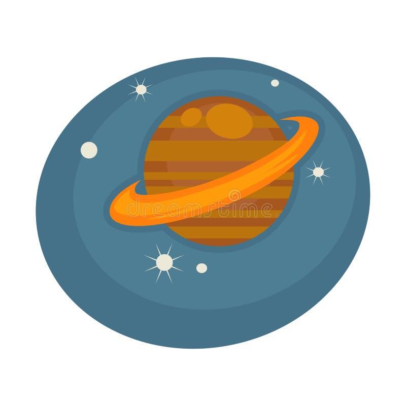 Saturn uit in ruimte onder sterren op blauwe hemel stock illustratie
