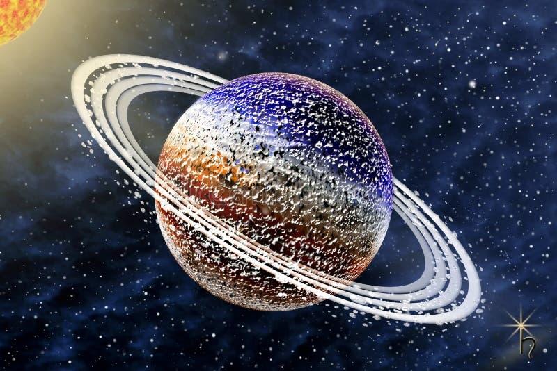 Saturn - un sexto planeta de la Sistema Solar fotografía de archivo libre de regalías