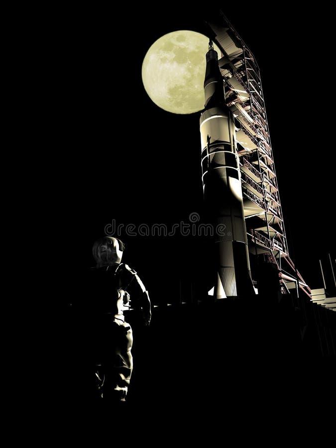 Saturn V prêt à lancer illustration de vecteur