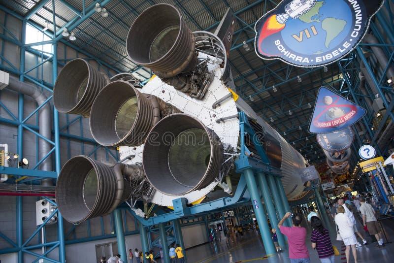 Saturn V raket in Kennedy Space Center royalty-vrije stock foto's