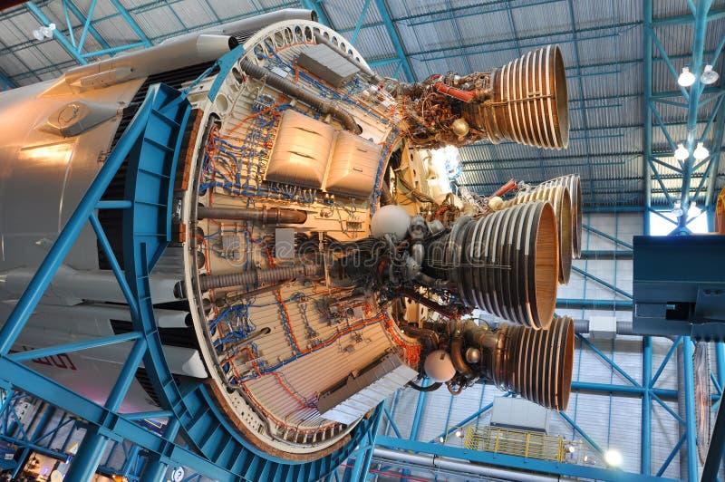 Saturn-V-Rakete Motoren stockbild