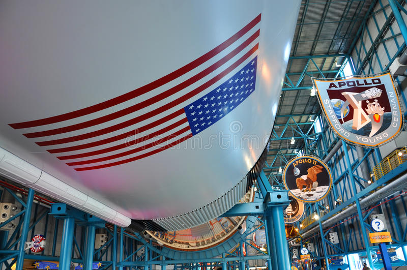 Saturn V Rocket, Cape Canaveral, Florida. Saturn V Rocket displayed in Apollo/Saturn V Center, Kennedy Space Center Visitor Complex, Cape Canaveral, Florida, USA stock images