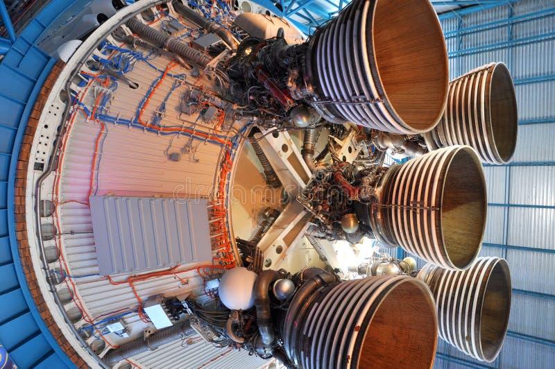 Saturn V Rocket Engines, Cape Canaveral, Florida. Saturn V Rocket Engines displayed in Apollo/Saturn V Center, Kennedy Space Center Visitor Complex, Cape stock images
