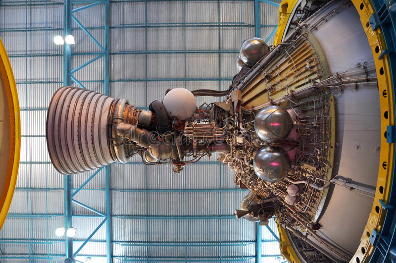 Saturn V Rocket Engines, Cape Canaveral, Florida. Saturn V Rocket Engines displayed in Apollo/Saturn V Center, Kennedy Space Center Visitor Complex, Cape royalty free stock photography