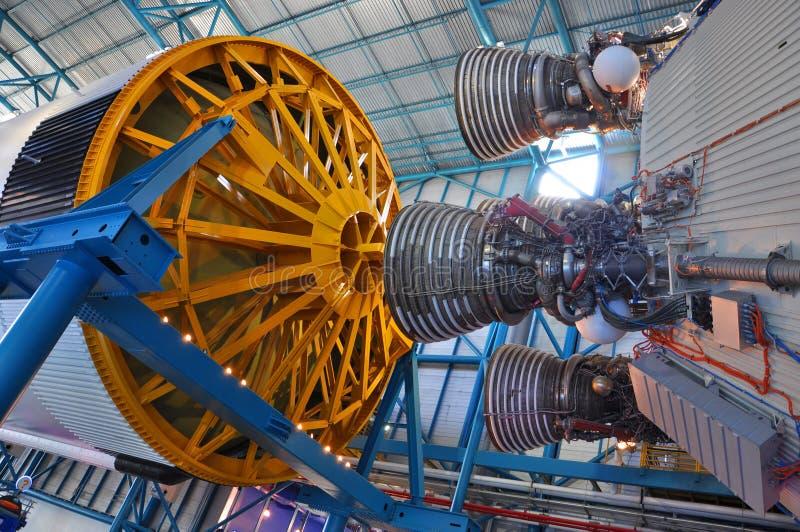 Saturn V Rocket Engines, Cape Canaveral, Florida. Saturn V Rocket Engines displayed in Apollo/Saturn V Center, Kennedy Space Center Visitor Complex, Cape stock image