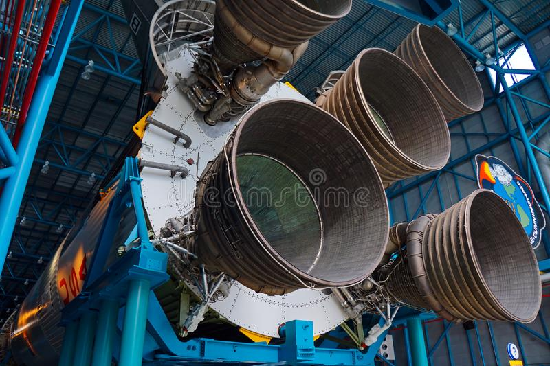 Saturn V Rocket engines at Kennedy Space Center stock photography