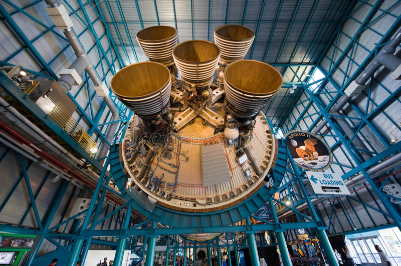 Saturn V rocket at Kennedy Space Center. KENNEDY SPACE CENTER, FLORIDA, USA - APRIL 27, 2016: The engines of the second stage of the Saturn 5 rocket which is royalty free stock photo