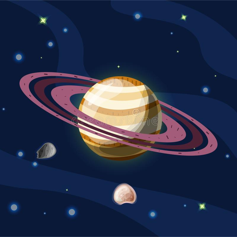 Saturn, vector cartoon illustration. Planet Saturn with rings, planet of Solar system in dark deep blue space, isolated. On blue background, space vector vector illustration