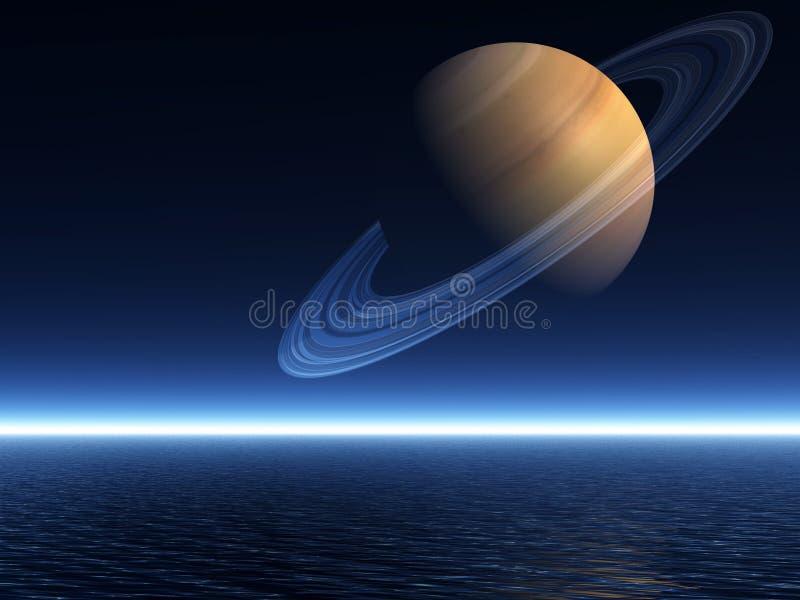 Saturno che aumenta sopra l'oceano - modo di paesaggio royalty illustrazione gratis