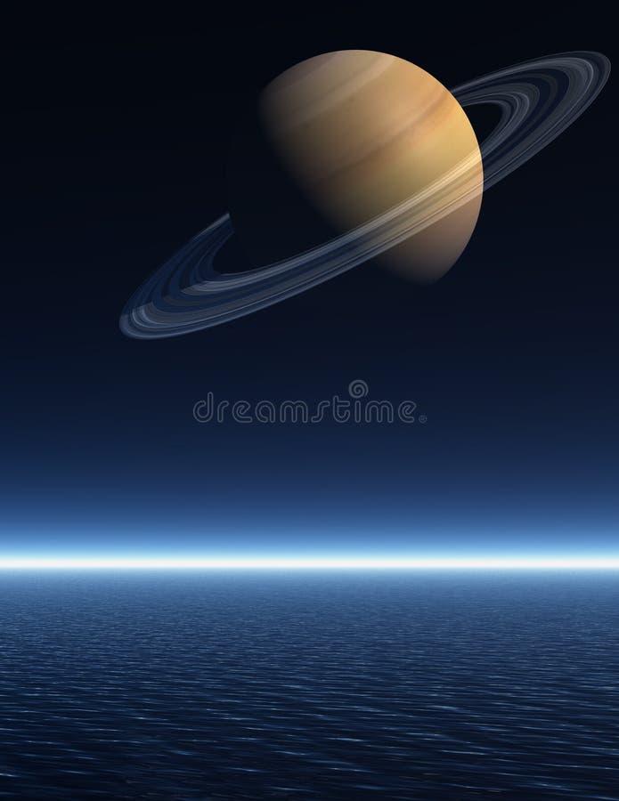 Saturno che aumenta sopra un mare di notte illustrazione vettoriale