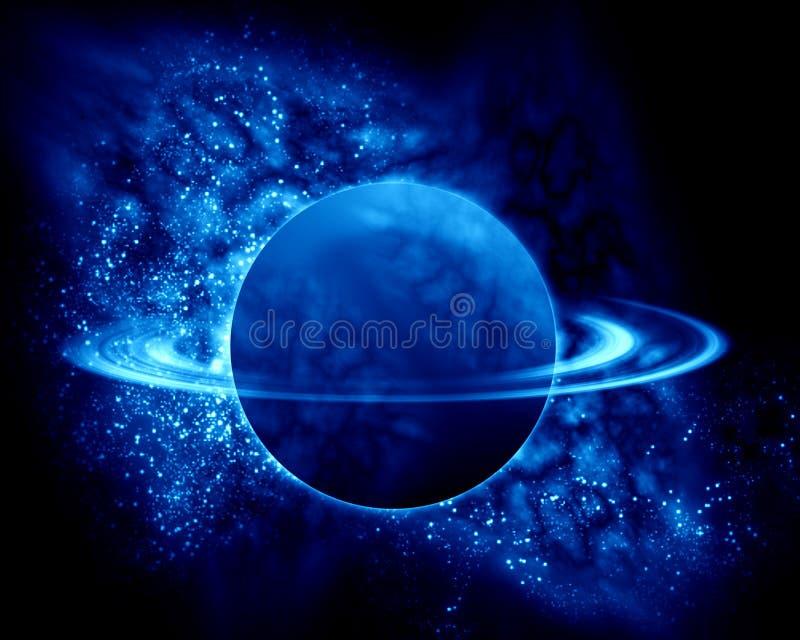 Saturno en el universo ilustración del vector