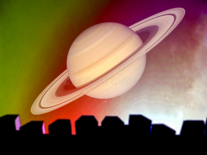 Saturnus en silhouet van hoogste muur en kleurrijke hemel in nacht stock afbeelding