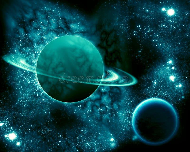 Saturnus in het heelal royalty-vrije illustratie