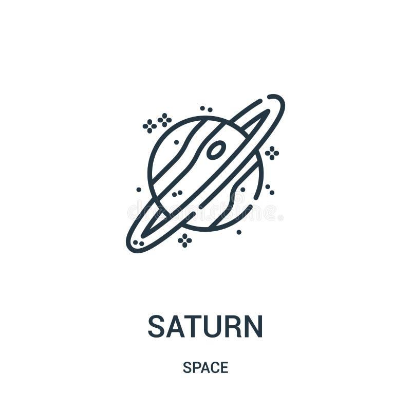 Saturnus-pictogramvector van ruimteinzameling De dunne van het het overzichtspictogram van lijnsaturnus vectorillustratie stock illustratie