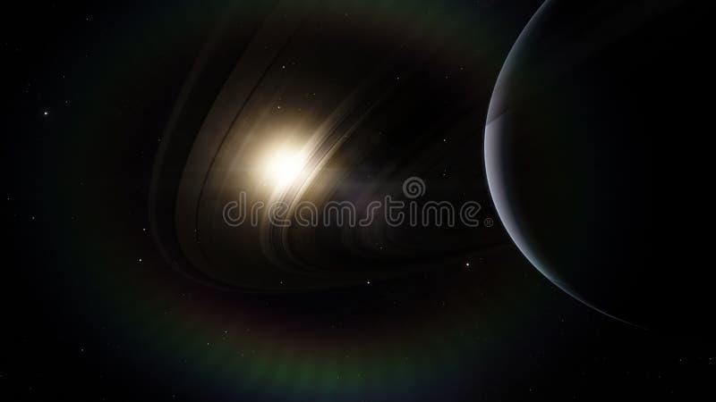 saturnus Science fiction ruimtebehang, ongelooflijk mooie planeten, melkwegen, donkere en koude schoonheid van eindeloos royalty-vrije stock afbeelding