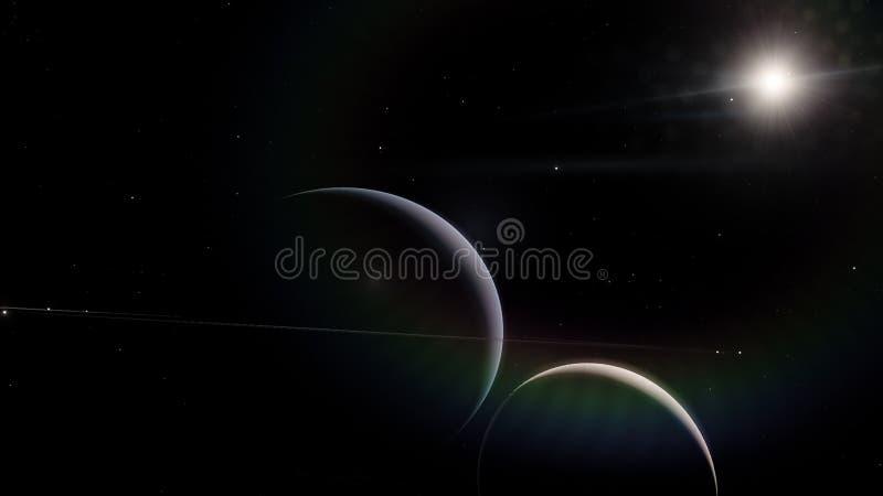 saturnus Science fiction ruimtebehang, ongelooflijk mooie planeten, melkwegen, donkere en koude schoonheid van eindeloos royalty-vrije stock afbeeldingen