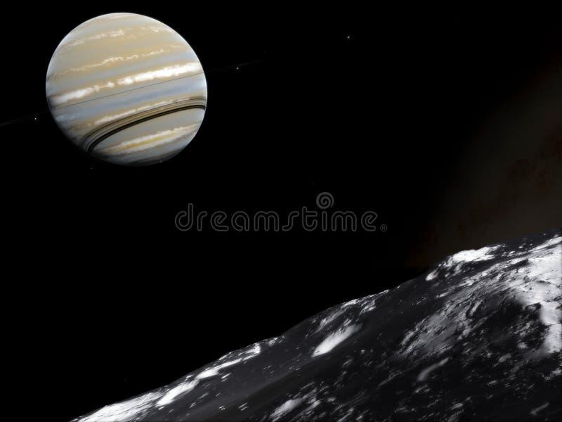 saturnus Science fiction ruimtebehang, ongelooflijk mooie planeten, melkwegen, donkere en koude schoonheid van eindeloos stock fotografie