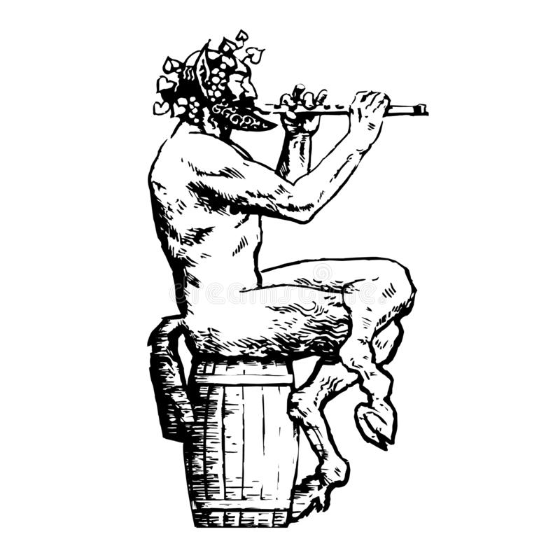 Satyr sitting on wooden barrel and playing flute. Design elements for wine list, menu card, tattoo, Greece or Italy royalty free illustration
