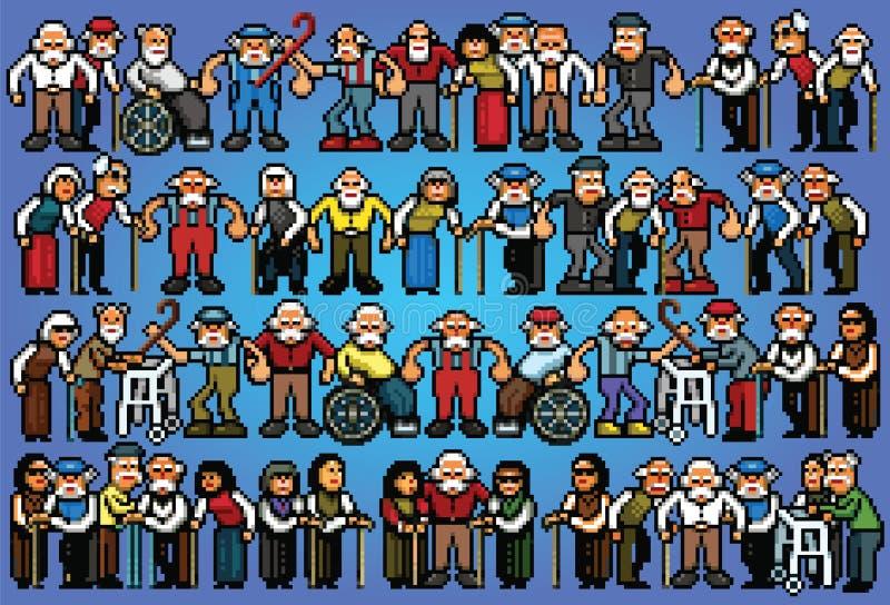 Satz ältere ältere Leute der Pixelkunst drängen Illustration stock abbildung