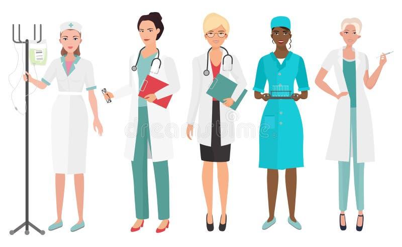 Satz Ärztinnen in den verschiedenen Haltungen Ärztinkrankenschwester Auch im corel abgehobenen Betrag vektor abbildung