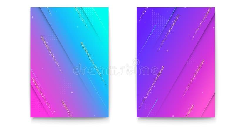 Satz Abdeckungen mit geometrischen farbigen Formen und Funkelnstreifen Hintergrund mit abstraktem Muster, Formen für Fahnen vektor abbildung
