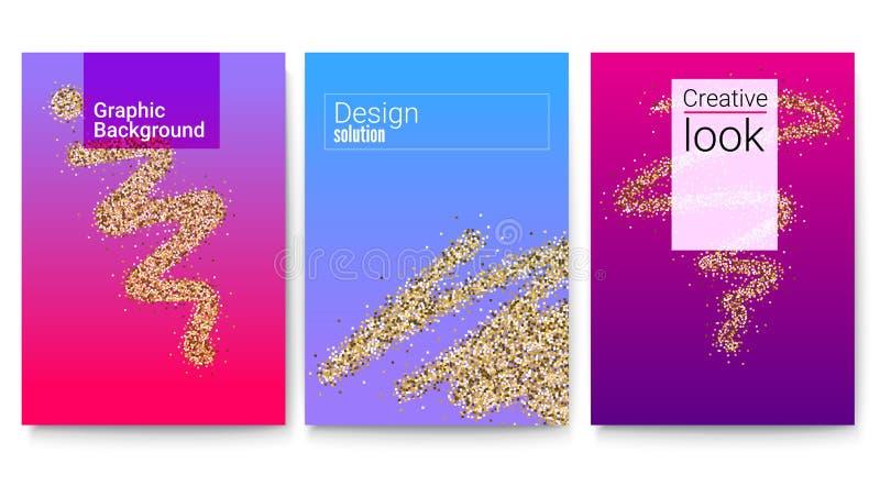 Satz Abdeckungen mit geometrischen Formen und Zusammenfassungsfunkelnspur der Bürste Hintergrund mit goldenem Staubmuster und -te lizenzfreie abbildung
